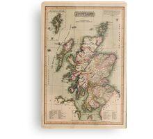 Vintage Map of Scotland (1814)  Metal Print