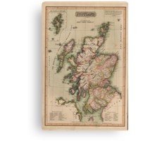 Vintage Map of Scotland (1814)  Canvas Print