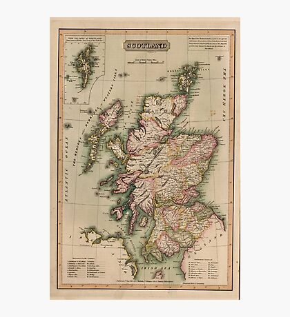 Vintage Map of Scotland (1814)  Photographic Print