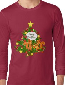 Christmas squirrel and christmas tree. Happy New Year. Long Sleeve T-Shirt