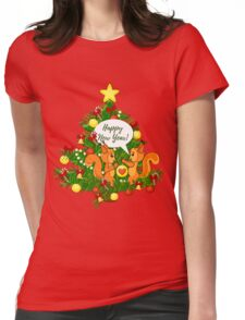 Christmas squirrel and christmas tree. Happy New Year. Womens Fitted T-Shirt