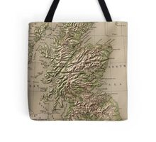 Vintage Physical Map of Scotland (1880) Tote Bag