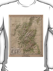 Vintage Physical Map of Scotland (1880) T-Shirt
