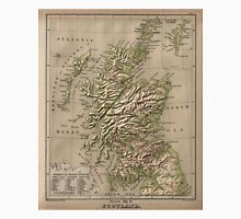 Vintage Physical Map of Scotland (1880) Unisex T-Shirt