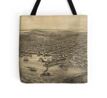 Vintage Pictorial Map of Seattle (1878) Tote Bag
