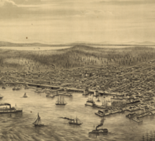 Vintage Pictorial Map of Seattle (1878) Sticker