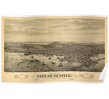 Vintage Pictorial Map of Seattle (1878) Poster