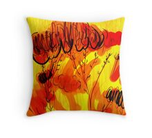 Sumi Flowers_Fire Red Throw Pillow