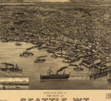 Vintage Pictorial Map of Seattle (1884) Sticker
