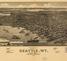 Vintage Pictorial Map of Seattle (1884) by BravuraMedia