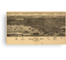 Vintage Pictorial Map of Seattle (1884) Canvas Print