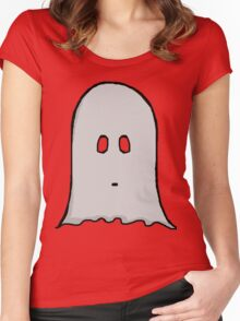 Grey Spooky Ghost  Women's Fitted Scoop T-Shirt