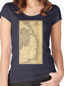 Vintage Map of The Outer Banks (1862) Women's Fitted Scoop T-Shirt