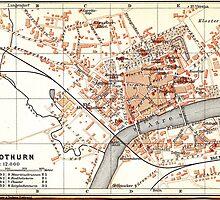 Vintage Map of Solothurn Switzerland (1913) by BravuraMedia