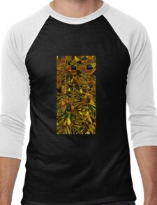 Geo-Psychedelic Sunflowers  Men's Baseball ¾ T-Shirt