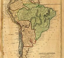 Vintage Map of South America (1821) by BravuraMedia
