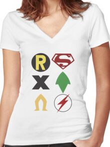 Young Justice Logos Women's Fitted V-Neck T-Shirt