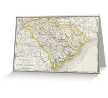 Vintage Map of South Carolina (1889) Greeting Card