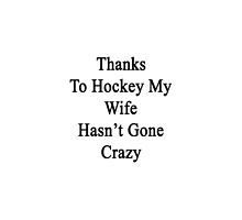 Thanks To Hockey My Wife Hasn't Gone Crazy  by supernova23