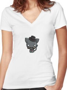 Sir Kitty the 1st  Women's Fitted V-Neck T-Shirt