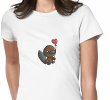 Platy Platypus and a Balloon Womens Fitted T-Shirt