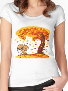 Fox in the Fall Women's Fitted Scoop T-Shirt