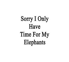 Sorry I Only Have Time For My Elephants by supernova23