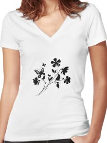 Flower and Butterfly Silhouette Women's Fitted V-Neck T-Shirt