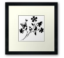 Flower and Butterfly Silhouette Framed Print