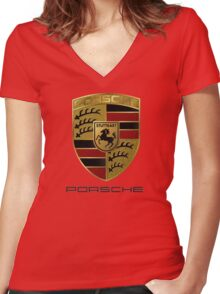 PORSCHE Women's Fitted V-Neck T-Shirt
