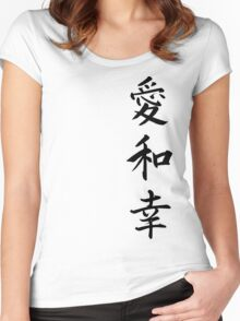 Love Peace Happiness Kanji  Women's Fitted Scoop T-Shirt