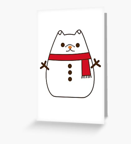 Cute Christmas Snowman Pupsheen Greeting Card
