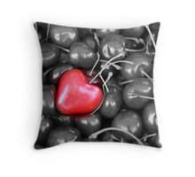 cherries with heart love Throw Pillow