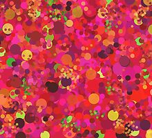 Colorful Pink Red and Gold Circles Abstract Art Pattern by Christina Katson