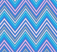 Periwinkle Blue Pink and Gray Chevron Abstract Pattern by Christina Katson