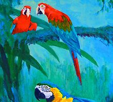 Macaw Trio by Margaret Saheed