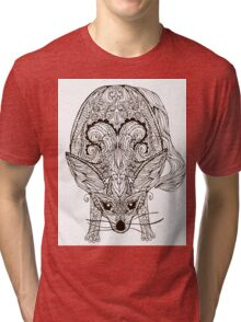 Zentangle vector fox or fennec Tri-blend T-Shirt