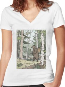 Bear in the Woods Women's Fitted V-Neck T-Shirt