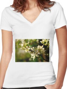 Bee buzzing among the orange flowers Women's Fitted V-Neck T-Shirt