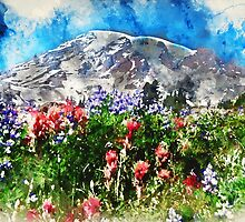 Mount Rainier Watercolor by TinaGraphics