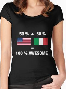 Half Italian Half American 100% Awesome Flag Italy Women's Fitted Scoop T-Shirt