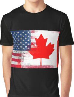 Canadian American Half Canada Half America Flag Graphic T-Shirt