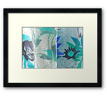 colored fabrics background Framed Print