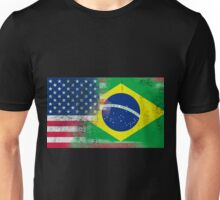 Brazilian American Half Brazil Half America Flag Unisex T-Shirt