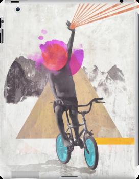 Rainbow child riding a bike by mikath