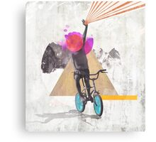 Rainbow child riding a bike Canvas Print