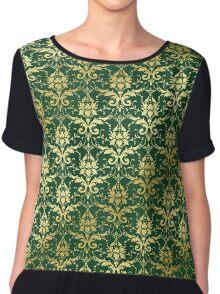 Damask Glitter Gold Dark Green Classic Elegant Chiffon Top