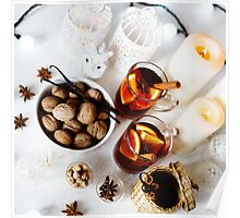 Christmas background with mulled wine Poster
