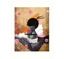 Contemporary fashionistas floral collage Art Print
