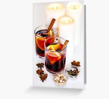 Christmas background with mulled wine Greeting Card